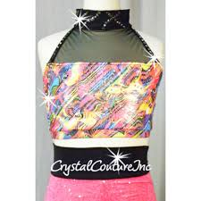 Neon/Pink/Black 2-Piece Print Crop Top and Hot ... - Crystal Couture
