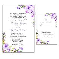Amazon Com 100 Wedding Invitations Purple Floral Design