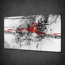 abstract black red paint splash modern canvas print