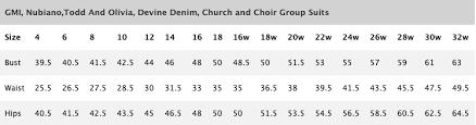 Ben Marc Size Chart Size Charts Church Suits Size Charts Church Dresses Size