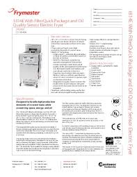 frymaster product 1814e oil conserving fryer fq and oqs
