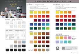 gamblin color chart mineral and modern colors