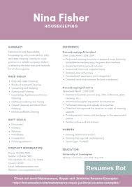 Housekeeping Resume Example