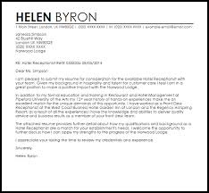 Reception Cover Letter Template Hotel Receptionist Cover Letter