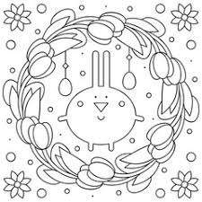 Easter Wreath Egg Coloring Page Vector Illustration Buy This