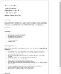Material Management Resume Sample Resume Sample 17 Supply Chain Management Career Resumes Sections