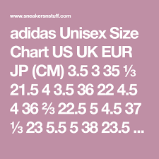 3 5 Size Chart Adidas Unisex Size Chart Us Uk Eur Jp Cm 3 5 3 35 21 5