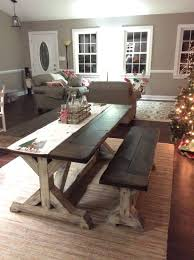 trestle farmhouse table bench set jacobean top and distressed white base floydrustic