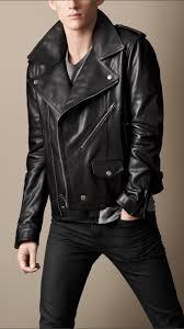 lyst burberry brit leather biker jacket in black for men