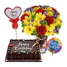 Birthday Mix Flowers Chocolate Cake And Balloon To Manila