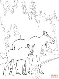 Small Picture Moose Cow with Calf Crossing the Road coloring page Free