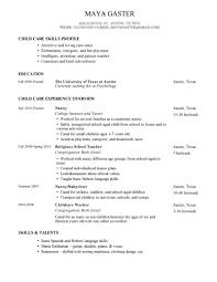 Simple Child Care Skills Profile Nanny Resume And Religious