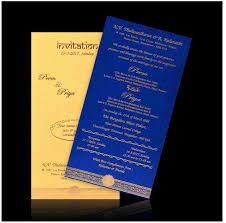 Gold Blue Awesome Gold Cover Blue Insert Single Sheet Wedding Card