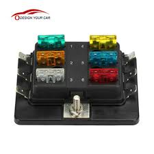 online get cheap metal fuse box aliexpress com alibaba group universal 1 power in 6 way blade fuse box holder m5 stud standard 6 3mm spade