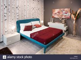 Stylish Interior Bedroom Wallpaper Stockfotos Stylish Interior