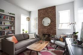 Apartment:Plush Brick Wall Inside Small Studio Apartment Feat Eclectic  Furniture Set Plush Brick Wall