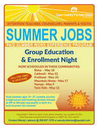 info and enrollment night for summer work experience program across southern idaho for teachers counselors parents and youth to learn more about an exciting new work experience program launching this summer