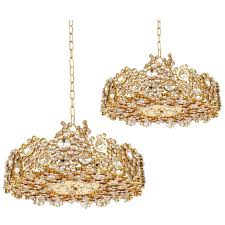 pair palwa crystal glass gold plated brass chandeliers refurbished lamps 1960
