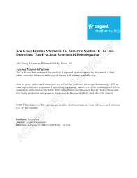 pdf new group iterative schemes in the numerical solution of the two dimensional time fractional advection diffusion equation