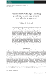 Pdf Replacement Planning A Starting Point For Succession