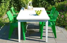 plastic outdoor dining set sets with green chairs white patio