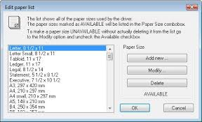 executive paper size specifying the paper size