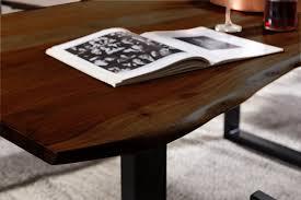 Sam Esstisch Baumkante Massiv Akazie Nussbaum 120x80 Schwarz Quinn
