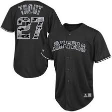 Camo Los Angels Mike Black Of Trout Player Jersey Angeles Majestic - Anaheim