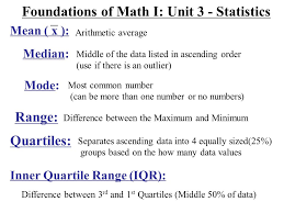 Foundations Of Math I Unit 3 Statistics Arithmetic Average Median