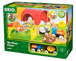 com brio world 33826 my first farm 12 piece wooden toy train set for kids ages 18 months and up toys