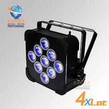 Us 553 85 5 Off 4pcs Lot Rasha High Brightness 9pcs 18w 6in1 Rgbaw Uv Battery Powered Wireless Led Flat Par Light Slim Par Can With Dmx In Out In