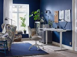 desks for office at home. A Blue And White Home Office With The Ergonomic HATTEFJÄLL Swivel Chair In Beige Sit Desks For At