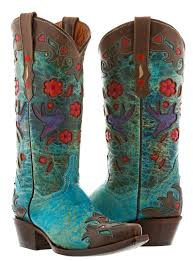 women s robin brown turquoise leather cowgirl boots