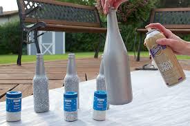 silver glitter wine bottle diy