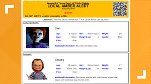 We will update this story when we have clarification as to why the alert. Texas Dps Mistakenly Sends Out Amber Alert For Chucky Doll Kens5 Com