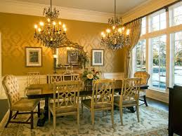 lavish dining room design inspiration with black wooden dining table also flower vase centerpieces and old style dining chairs over double