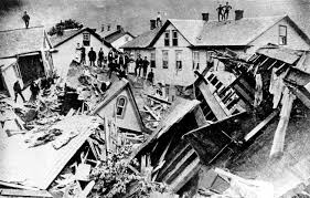 fire people stand atop houses among ruins after flooding in johnstown pa 30