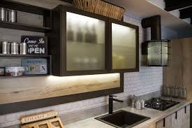 lighting for lofts. The Wire And Bronzo Finished Glass Cabinets Are Fitted With LED Lights To Enhance Sense Of Airiness Space Within Loft Kitchen. Lighting For Lofts G