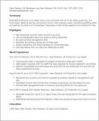 Resume Templates: Production Line Leader
