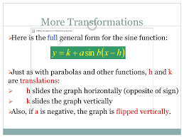 more transformations here is the full general form for the sine function just as with