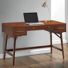 Cabinet And Lighting Furniture Mid Century Modern Desk With Brown Wooden Cabinet And