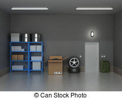 garage inside. The Interior Suburban Garage With Wheels And Boxes. Inside