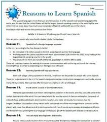 best spanish resources images spanish classroom  reasons to learn spanish reading activities and essay packet