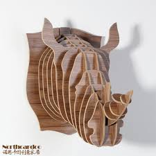 carved <b>wood</b> crafts <b>Rhino</b> head <b>wall</b> ornament interior creative <b>home</b> ...
