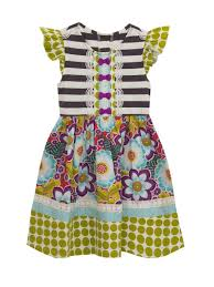 Gray Stripe Knit To Woven Floral Dress With Mini Bows Counting Daisies Little Girls 2 6x