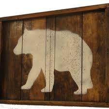 on reclaimed wood wall art rustic wall art bear home decor