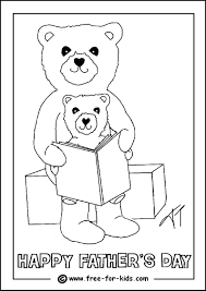 colouring page of a father and child reading a book