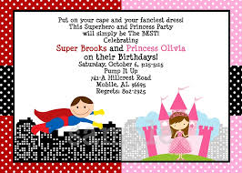 superheroes birthday party invitations princess and superhero birthday party invitations printable or printed