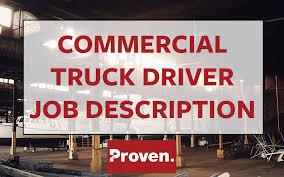 The Perfect Commercial Truck Driver Job Description Proven