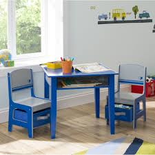 casual blue kids play table with storage and white wall paint and